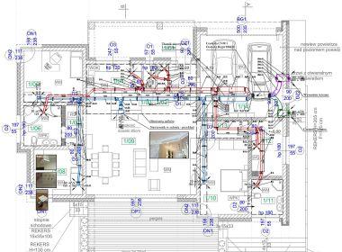 Projekt wykonawczy wentylacji domu w Czyżowicach