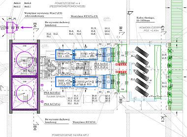 Projekt wykonawczy wentylacji technologicznej chłodzenia silnika gazowego 110.000m3/h